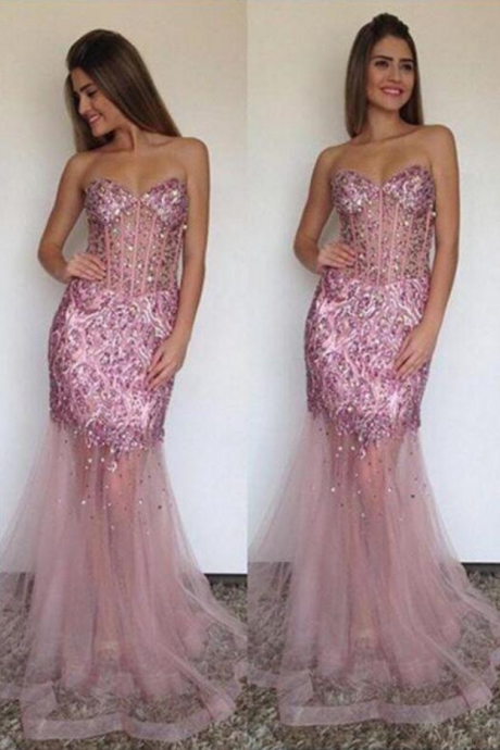Mermaid Formal Dresses,Pink Prom Dresses ,Tulle Evening Gowns,Backless Prom Gown