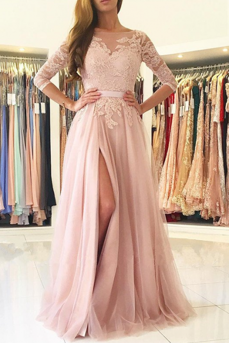 Charming Opening Back Prom Dress, Robe De Soiree, Dusty Pink Prom Dress, Lace Appliques Prom Dresses, Sexy Woman Slit Prom Gown, Long Prom Dresses