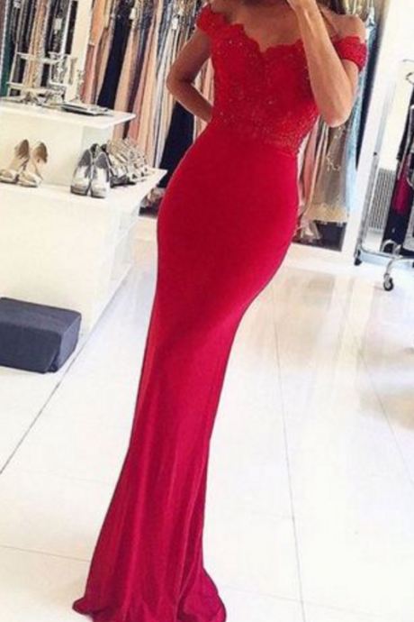 New Arrival Prom Dress,mermaid lace off shoulder long prom dresses,formal dresses