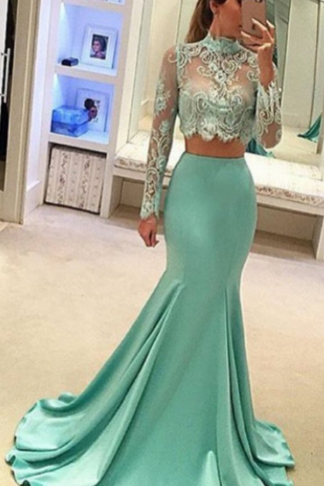 Pretty Two Pieces Prom Dresses,High Neck Prom Dress,Long Sleeve Lace Prom Dress, Sexy Mermaid Prom Dress