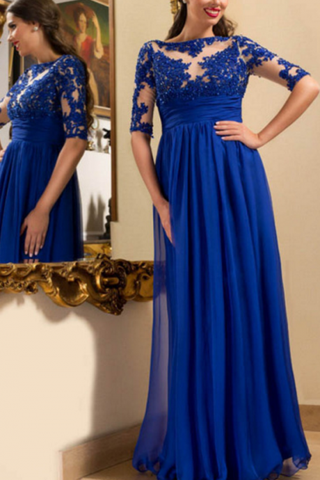 Half Sleeves Royal Blue Prom Dress,Mother of the Bride Dress,Prom Dresses,Long Evening dresses