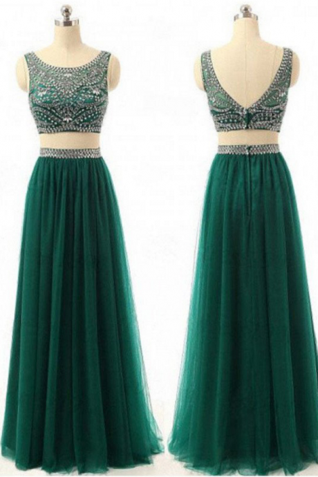 Long Custom prom dress,Two Pieces prom dress, Green Prom dress, Beaded prom dress, Sparkly prom dress, Vintage prom dress, Floor Length prom dress, Evening Dresses