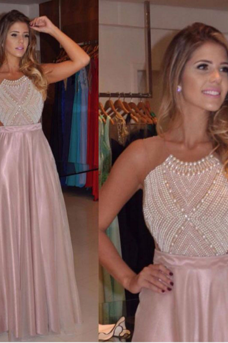 Long Custom prom dress,Pink prom dress, Backless prom dress, Charming prom dress, A-line prom dress, Vintage prom dress, Evening Formal Dresses