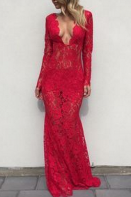 Elegant Prom Dress,Red Lace Prom Dress,Long Sleeves Prom Dress,Fashion Prom Dress,Sexy Party Dress,V Neck Evening Dress,Prom Dress for Women