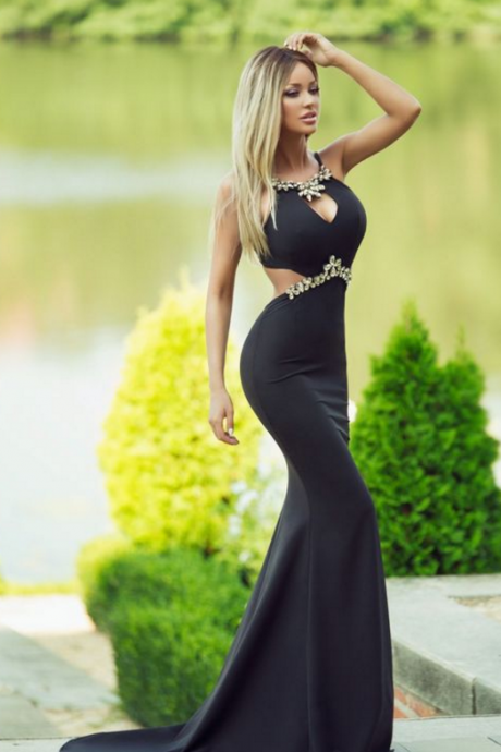 Sexy Elegant long Black prom dress, charming beaded Prom Dresses, formal Evening Gown, new arrive Mermaid prom dress,high quality evening gown