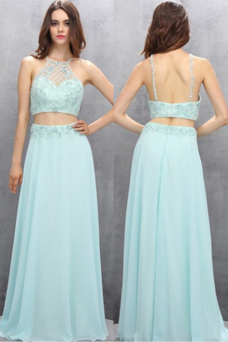 Elegant Long Two Pieces Handmade Beading Prom Dresses,Evening Dresses,Modest Party Dresses