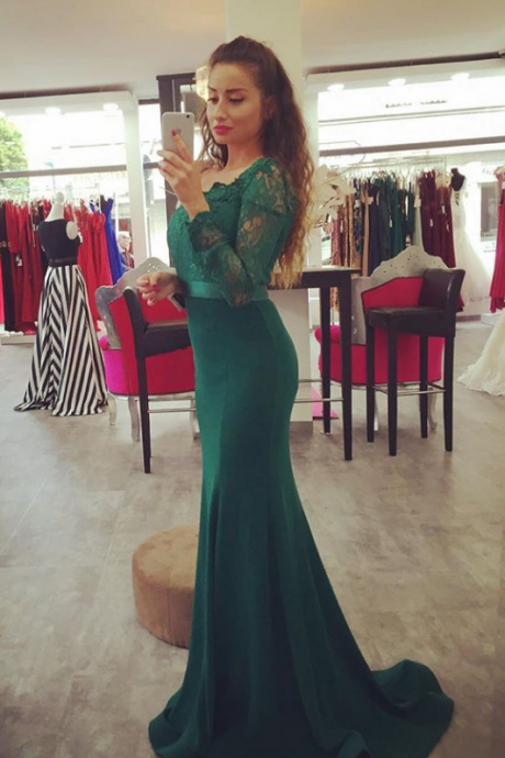 Dark Green Off The Shoulder Mermaid Prom Gown,Charming Prom Dress,Long Prom Dress,Party Dress,