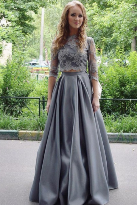Gray Prom Dress, Lace Prom Dress, 2 Piece Prom Dresses, A Line Prom Dress, Satin Prom Dress, Elegant Prom Dress, Floor Length Prom Dress, Half Sleeve Prom Dress