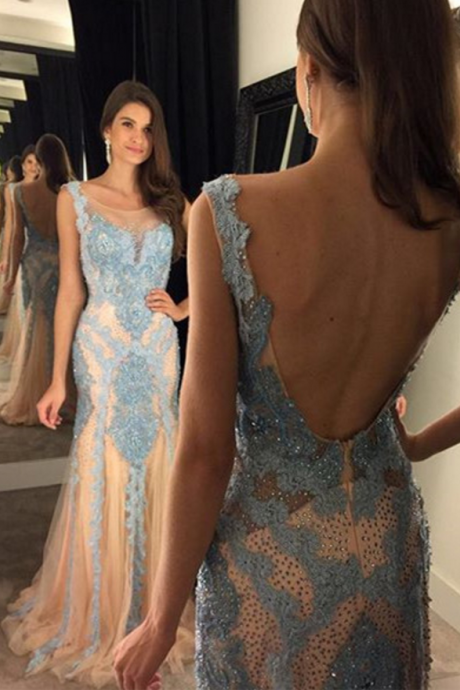 V Neck Evening Dress, Mermaid Evening Dress, Crystals Evening Dress, Long Evening Dress, Elegant Evening Dress, Blue Lace Evening Dress, Backless Evening Gown, Sexy Formal Party Dresses