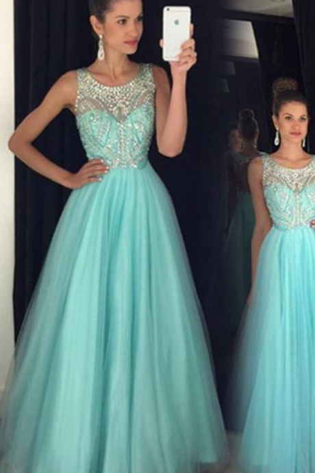 Tulle Prom Dress, Blue Prom Dress, Crystals Prom Dress, A Line Prom Dress, Elegant Prom Dress, Floor Length Prom Dress, Prom Dresses