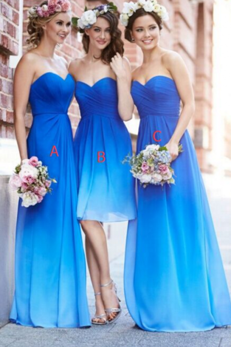 Custom Made Blue Strapless Gradient Sweetheart Neckline Floor Length Chiffon Mismatched Bridesmaid Dress