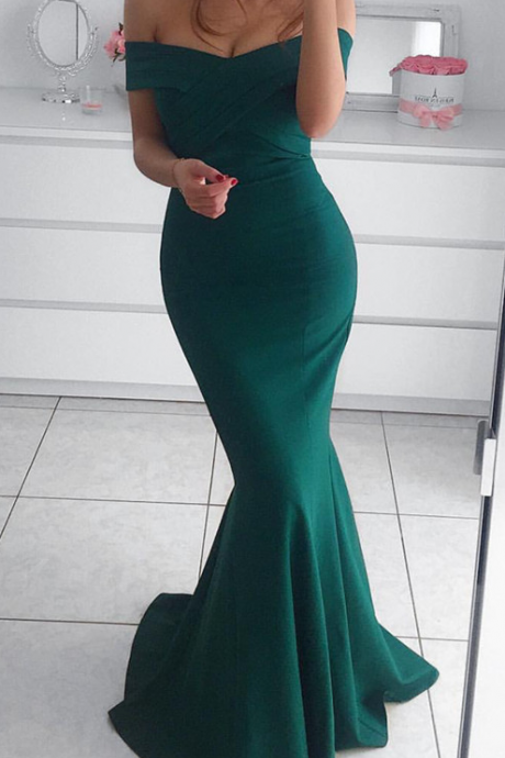 Dark Green Long Prom Dress,Off The Shoulder Mermaid Sleeveless Prom Dress,Formal Evening Gowns,Party Dresses