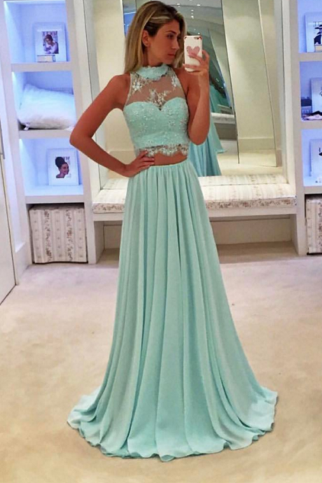 Sky Blue Prom Dresses,Two Piece Prom Dresses,Evening Gowns,Formal Dresses