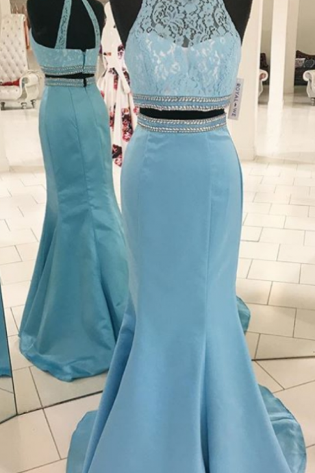 Gorgeous Two Piece Prom Dress, Mermaid Long Prom Dress, Formal Evening Dress