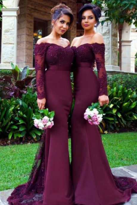 Red Wine Off Shoulder Mermaid Long Sleeve Lace Bridesmaid Dress