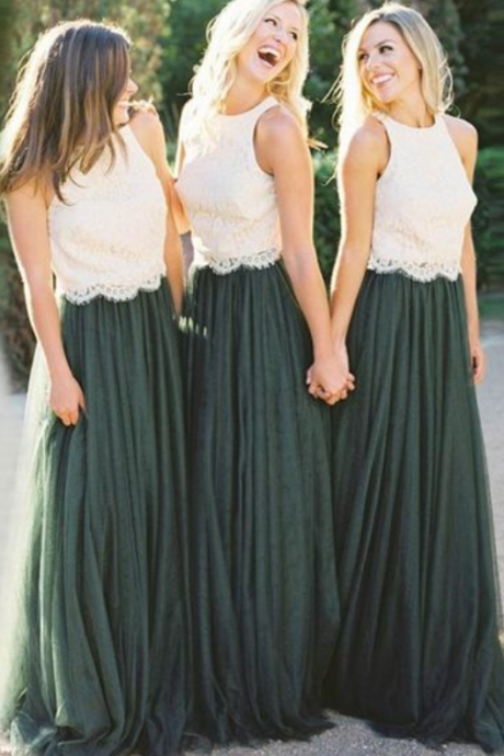 A-Line Bridesmaid Dresses, Round Neck Bridesmaid Dresses, Dark Green Bridesmaid Dresses with white Lace
