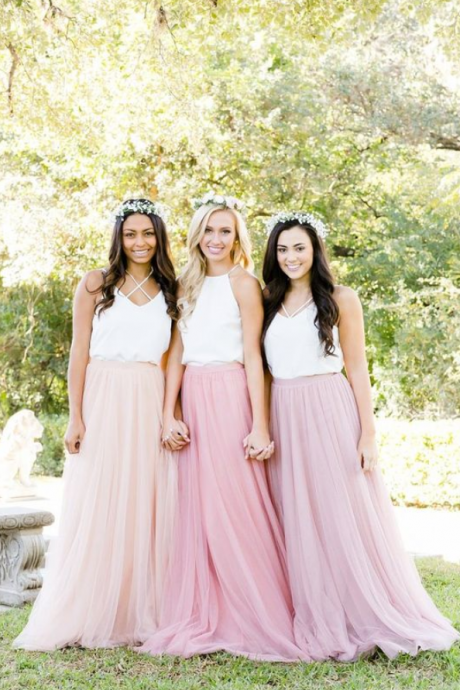 Mismatched Bridesmaid Dresses, Pearl Pink Bridesmaid Dresses, Long Rusic Bridesmaid Dresses