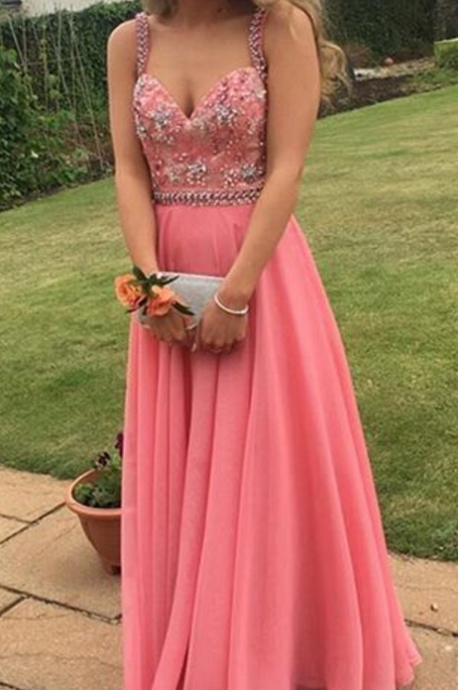 Pink Evening Gowns,Simple Formal Dresses,A-line Prom Dresses,Teens Fashion Evening Gown,Beadings Evening Dress,Pink Party Dress