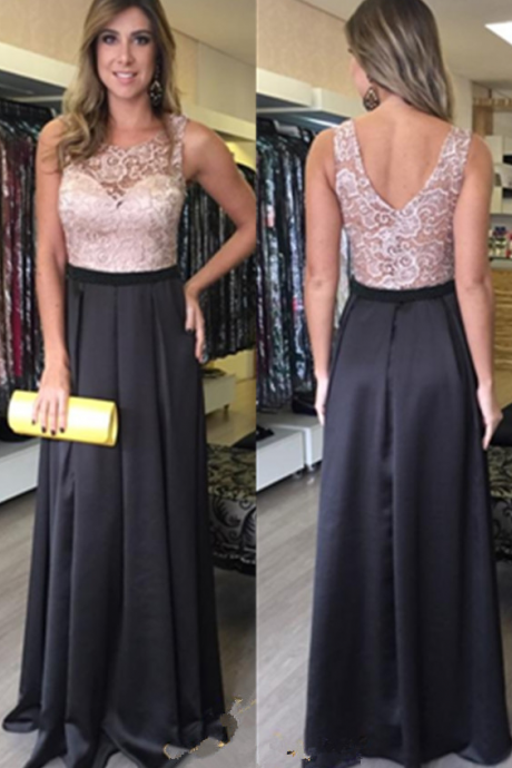 ,V neck Prom Dress,Backless Prom Dress,A-line Black Prom Dresses,Lace Prom Dress,Open Back Prom Gowns,Evening Dresses A-line Long,Prom Dresses