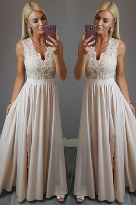Charming Prom Dress, Sleeveless Appliques Evening Dress, Floor Length Party Dress