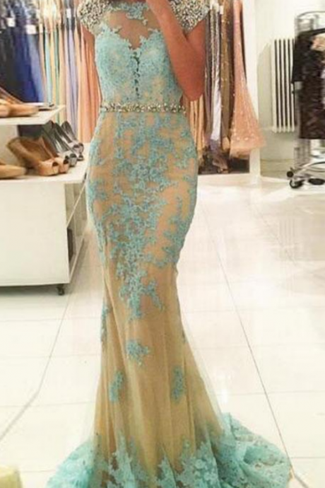 Charming Prom Dress, Appliques Lace Mermaid Evening Dress, Formal Evening Gown