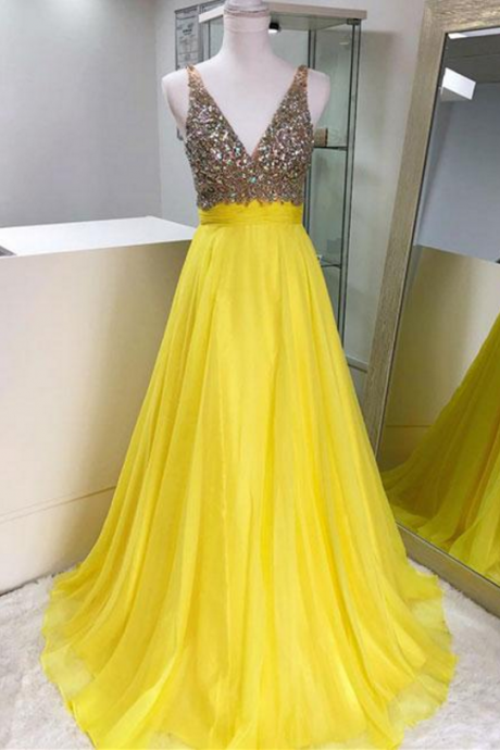 Yellow v neck chiffon beaded long prom dress, yellow evening dress