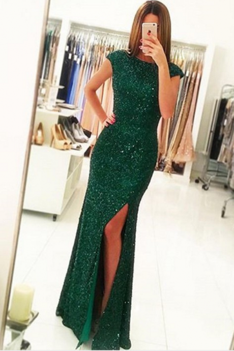 Luxurious Sheath Cap Sleeves Split-Front Dark Green Long Prom Dress with Open Back