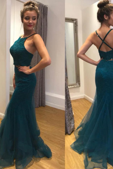 Appliques Lace Evening Dress, Sexy Sleeveless Long Prom Dress, Formal Prom Dresses