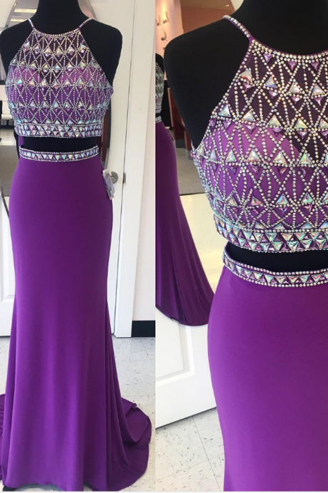 Purple Prom Dress,Two Piece Prom Dress,Mermaid Evening Gowns,Crystal Beaded Dress
