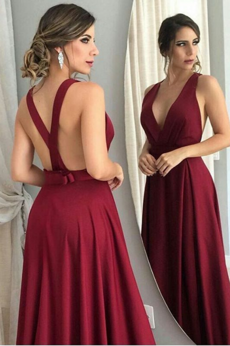 Burgundy Evening Dress,V-neckline Party Dress,Sexy Open Back Prom Dress