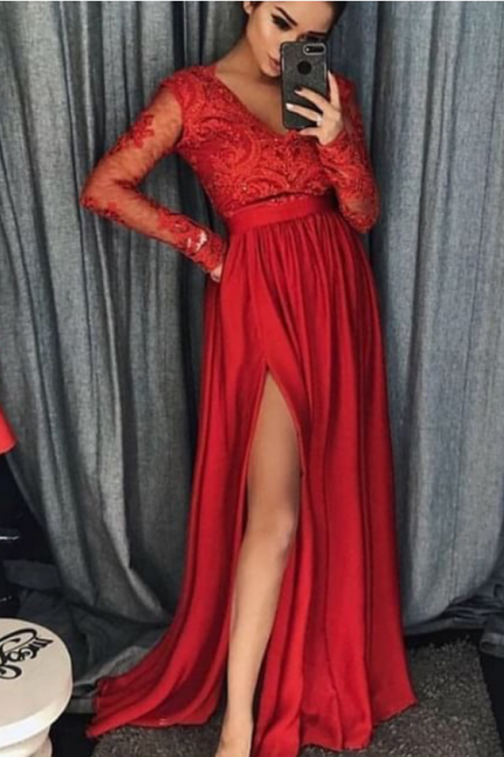 side slit prom dresses, lace prom dresses, long sleeve prom dresses, cheap party dresses, newest formal dresses, v neck evening dresses,