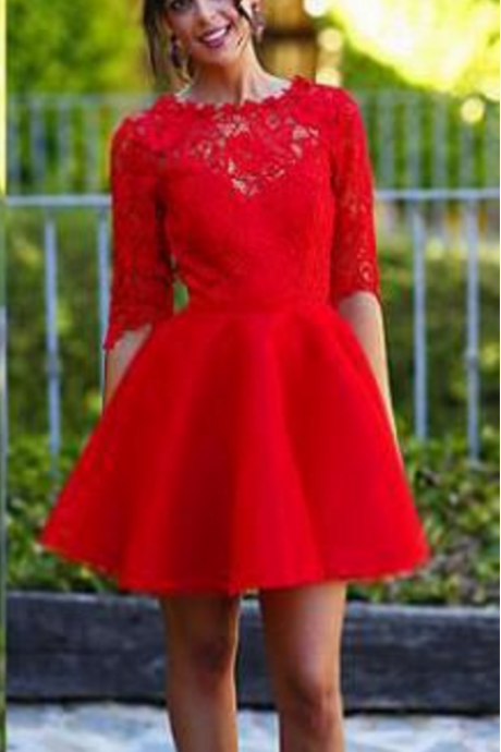 Elegant Homecoming Dress, Lace Homecoming Dress, Red Homecoming Dress, Half Sleeve Short Homecoming Dress, New Arrival Homecoming Dress