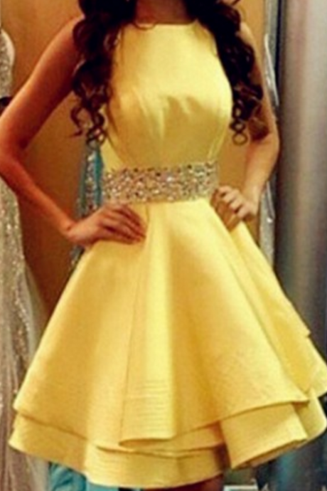 Yellow Homecoming Dresses Aline Criss-Cross Above-Knee O-neck Hollow Aline