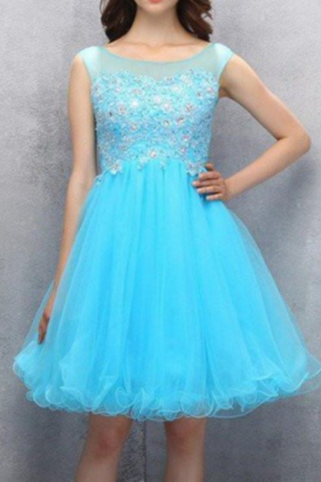 Strap Organza Homecoming Dress with Appliques Sequins
