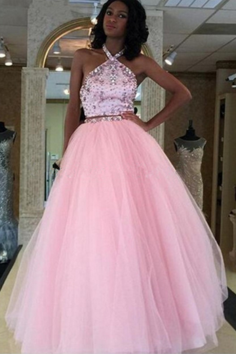 Backless Halter Tulle Beaded Prom Dress,Sexy Prom Dress,Floor Length Tulle Prom Dresses