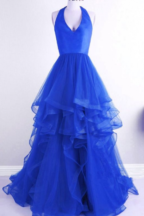 Blue Tulle Prom Dress, Halter Neck Prom Dress, Tulle Evening dress, Long Prom Dress