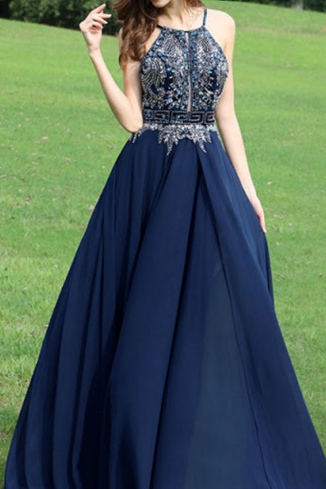 Keyhole Front Long Navy Prom Dress