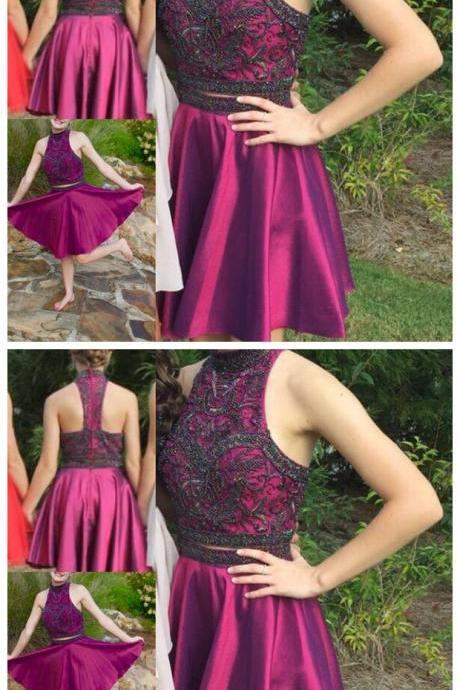 Stylish A-line two pieces beading short prom dress