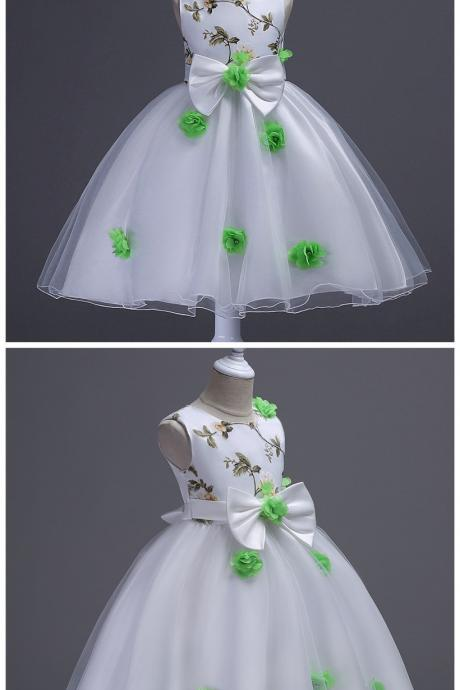 Flower Girl Dresses, Bow Embroidry Appliques Pearls Lace Kids Princess Flower Girls Dress