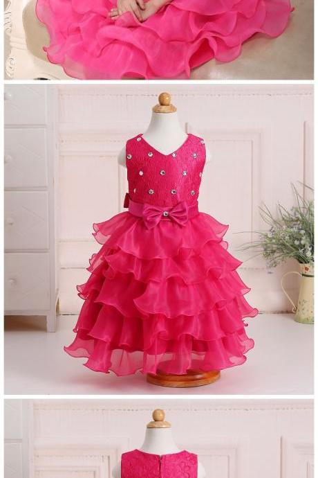 Flower Girl Dresses, Rhinestones And Bow Decorate Kid Girls Wedding Dress Cute Tiered Little Girls Prom Ball Gown