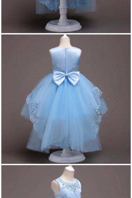 Flower Girl Dresses High Low Lace Appliques Communion Dresses Pageant Dresses For Little Girls