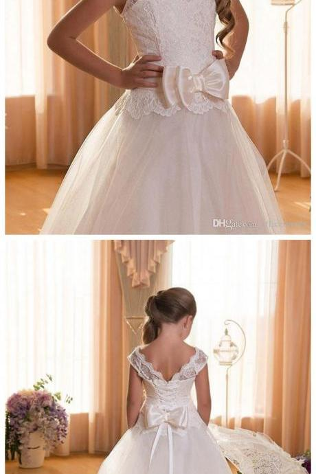 Flower Girls Dresses First Communion Dresses for Weddings Scoop Backless With Appliques Ball Gown Princess Children Wedding Gowns
