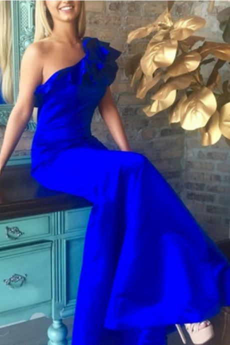 Mermaid One-Shoulder Floor-Length Royal Blue Prom Dress with Ruffles