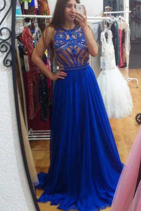 Prom Dresses Luxury Sparkle Bling Royal Blue Beads Long Formal Evening Party Gowns robes de bal
