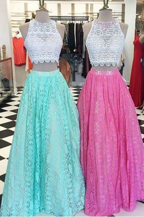 Lace Two Pieces Round Neck A-line Long Prom Dress For Teens