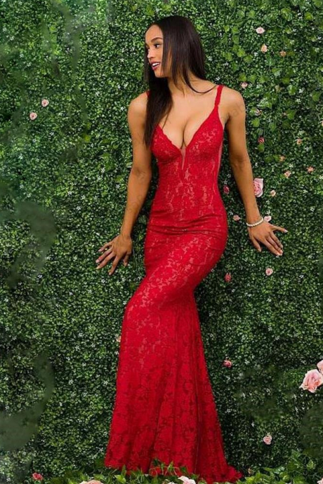 Sexy Red Lace Mermaid Prom Dress, Spaghetti Straps Long Evening Dress