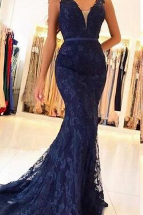 Hot Selling Dark Navy Prom Dress,Lace Mermaid Prom Dresses,Sleeveless Beaded Appliques Prom Dress, vestido de festa Long Evening Pageant Party Gowns