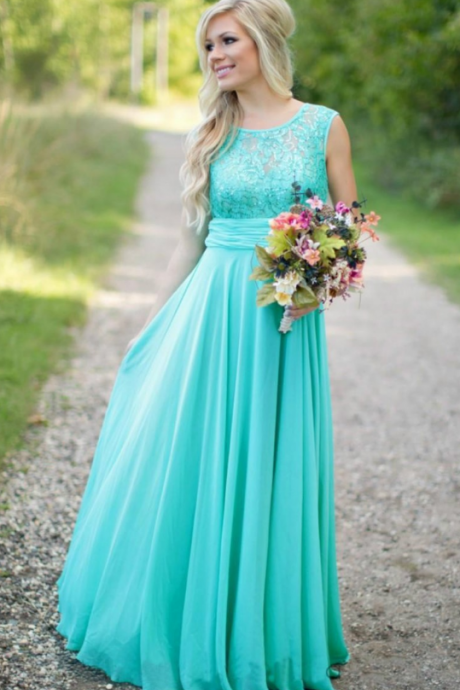 Blue Chiffon Elegant Evening Dress, Red Carpet Dress