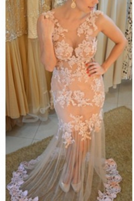 Sexy Prom Dress, Lace Prom Dresses, See Through Back Prom Dresses