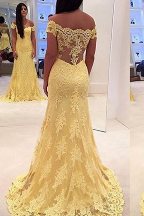 Sexy Long Prom Gown,Appliques Yellow Prom Dress,Handmade Prom Dress,Mermaid Prom Gown,Gown Sexy Prom Dress